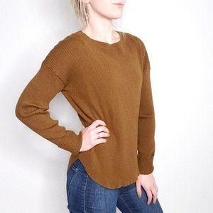 Express Olive Green Ribbed Knit High Low Sweater